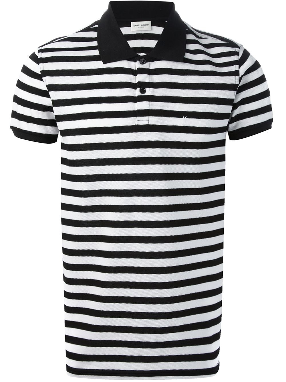 8258a0c68a97 Lyst - Saint Laurent Striped Polo Shirt in Black for Men