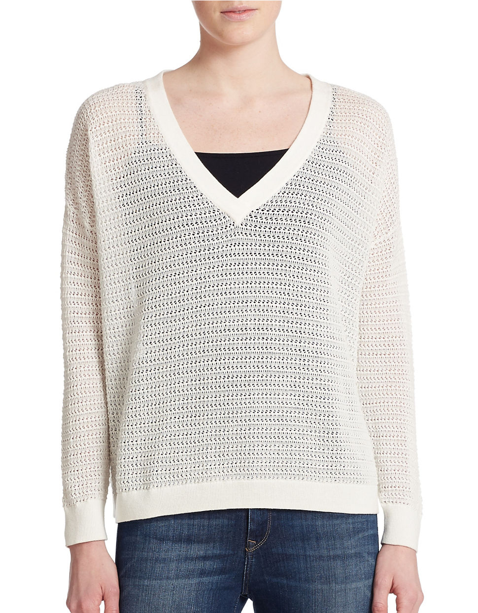 Lyst French Connection Open Weave V Neck Sweater In White