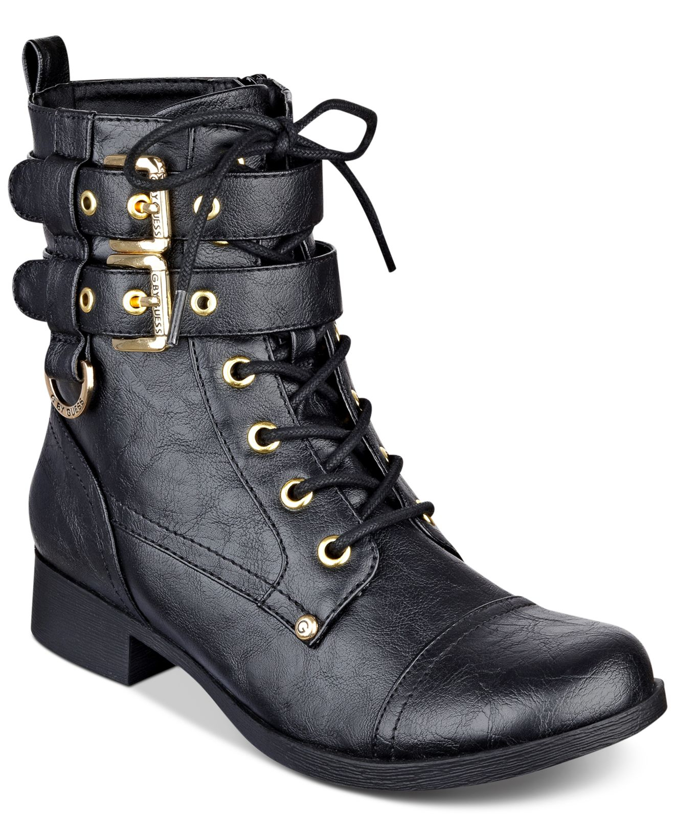 Bell Lace-up Combat Boots in Black
