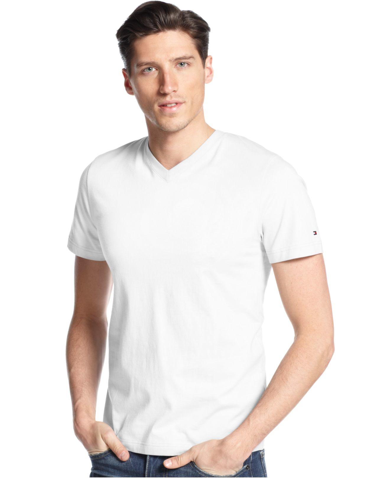 Tommy hilfiger elmira v neck t shirt in white for men lyst for V neck white t shirts for men