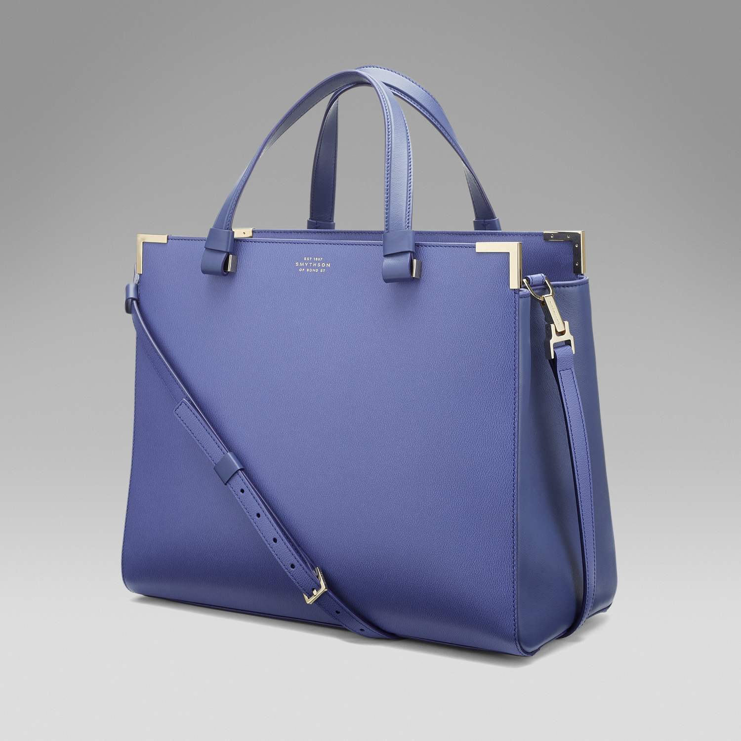 Smythson Leather Corners Tote in Blue