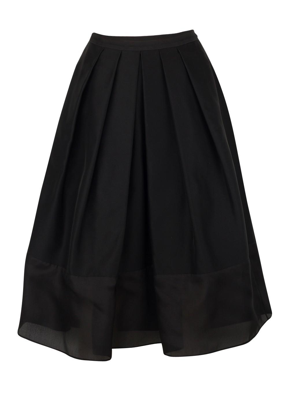 tibi techno faille pleated skirt in black lyst