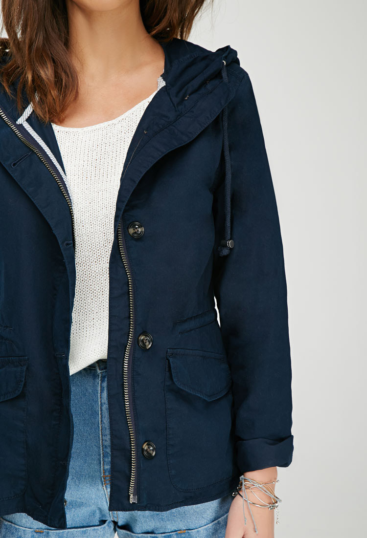 Forever 21 Hooded Utility Jacket In Navy Blue Lyst