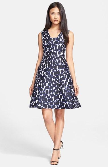 883e232a6f kate spade new york Blue Leopard Print Fit & Flare Dress