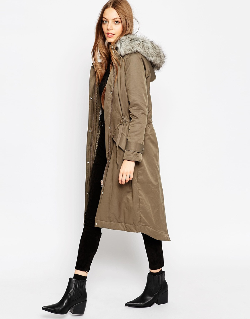 Asos Parka In Maxi Length in Natural | Lyst