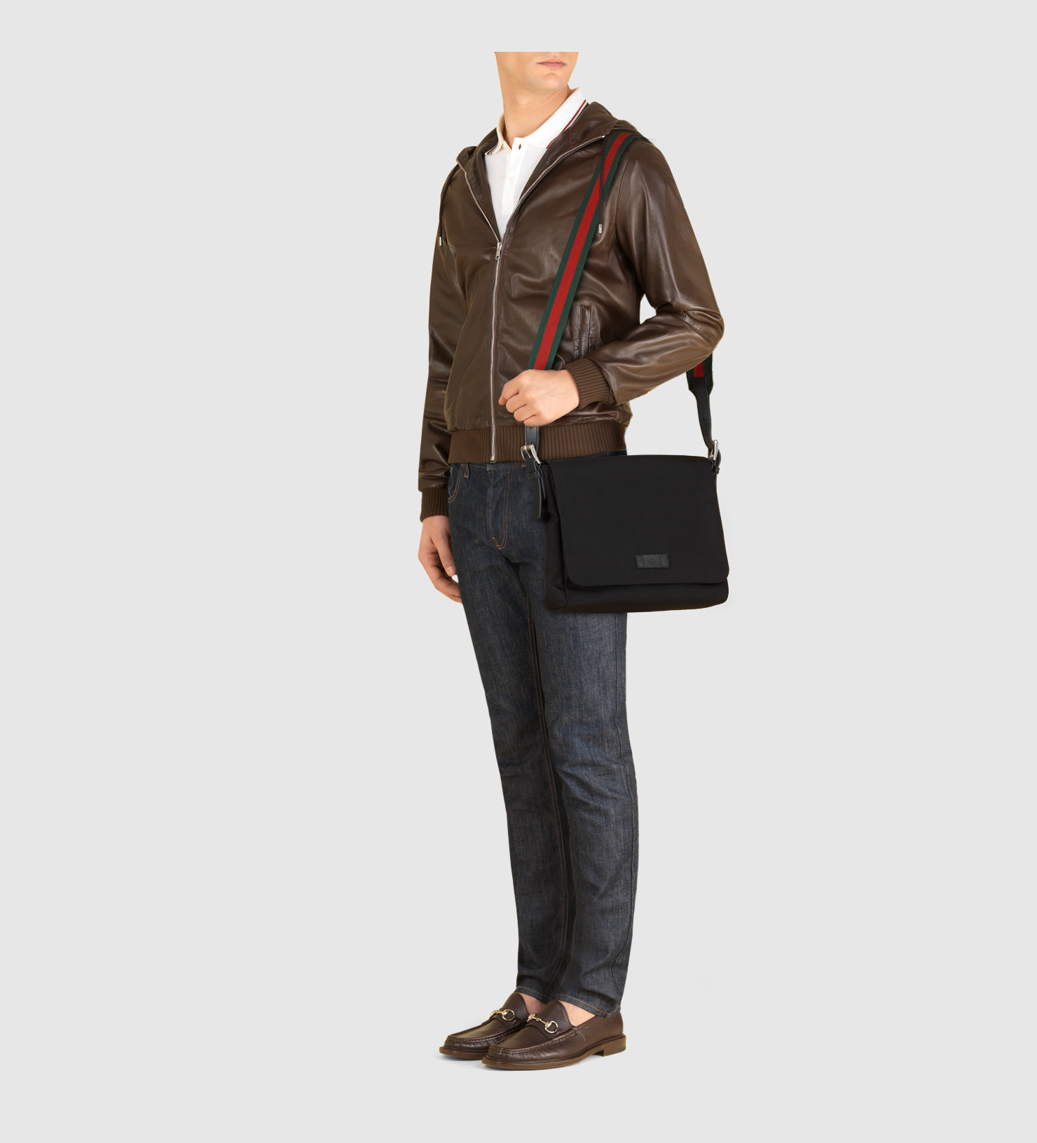73afbf1f5c Lyst - Gucci Black Techno Canvas Messenger Bag in Black for Men