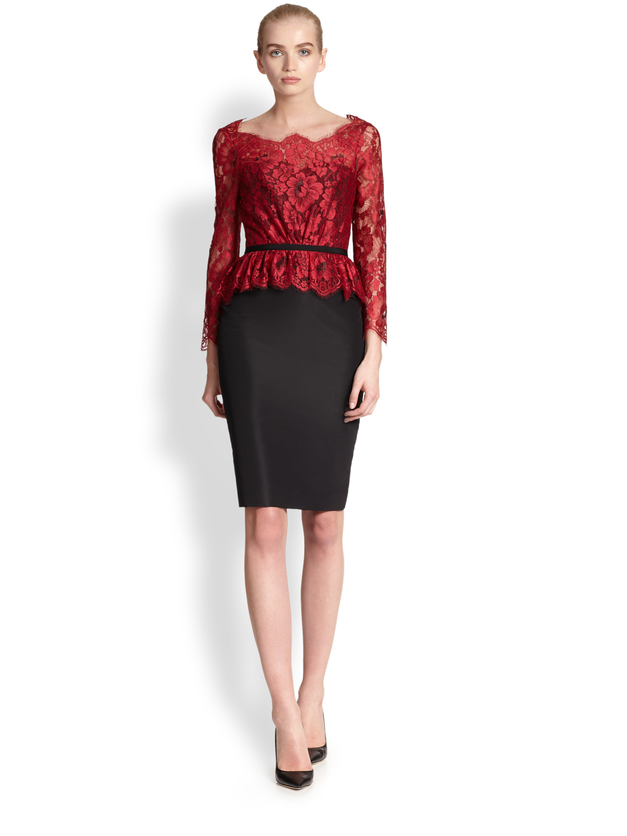 Lyst - Carolina Herrera Floral Lace Peplum Cocktail Dress in Pink