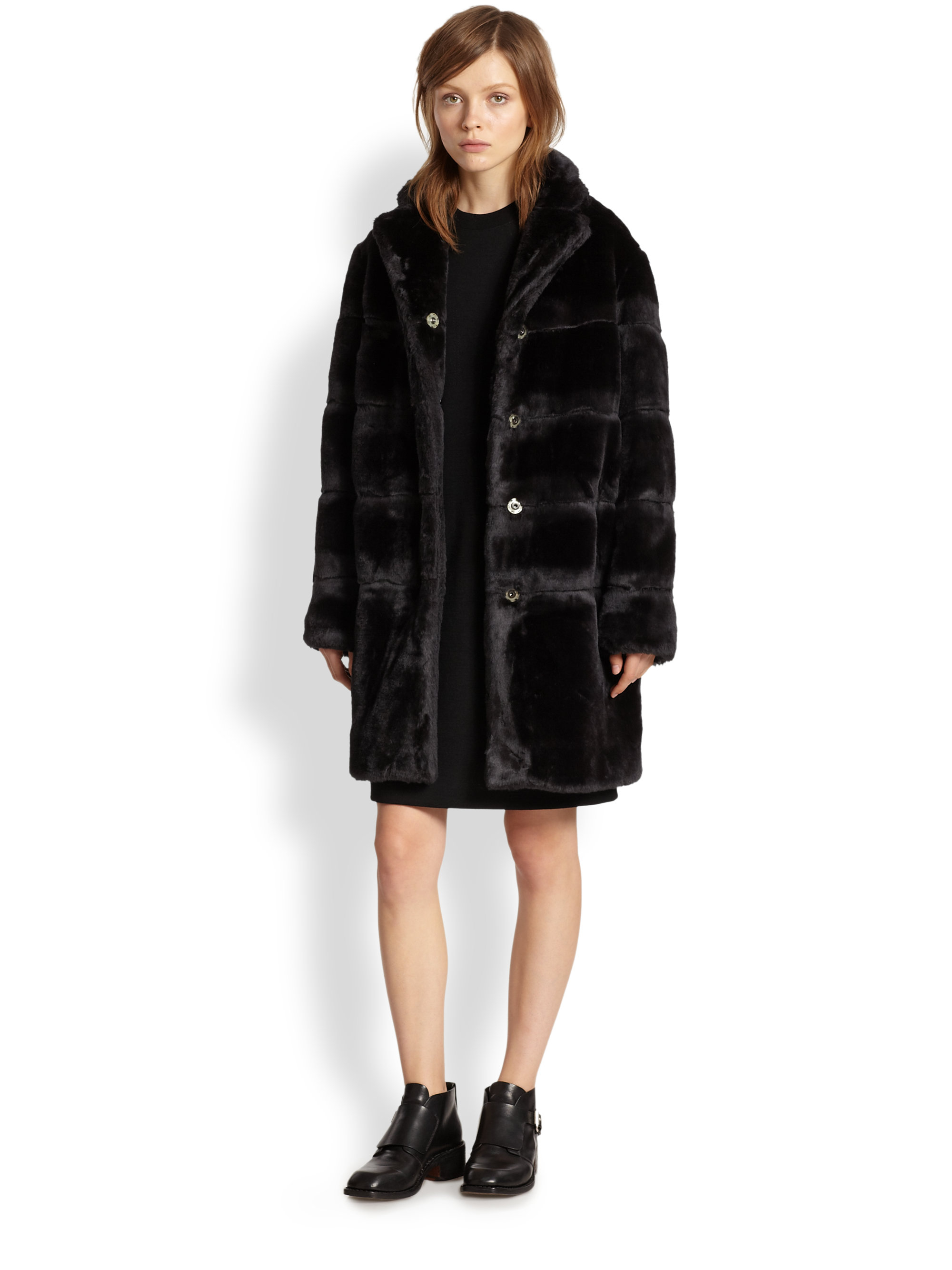 Lyst - Marc by marc jacobs Quilted Faux Fur Coat in Black : quilted fur coat - Adamdwight.com