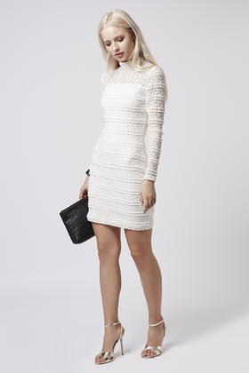 Lyst Topshop Ruffle Lace High Neck Bodycon Dress In White