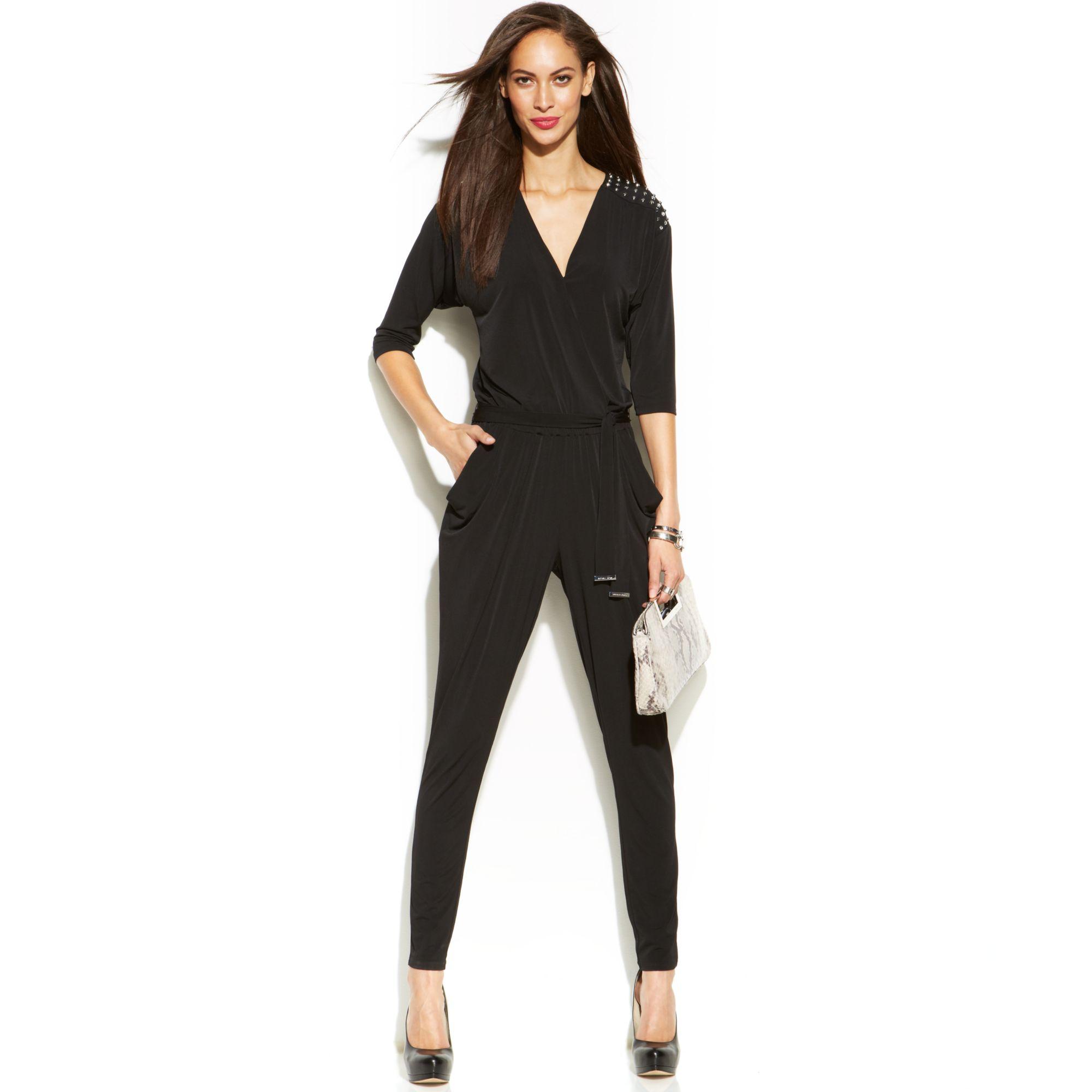 941c4773cb9d Lyst - Michael Kors Michael Slimleg Studded Jumpsuit in Black