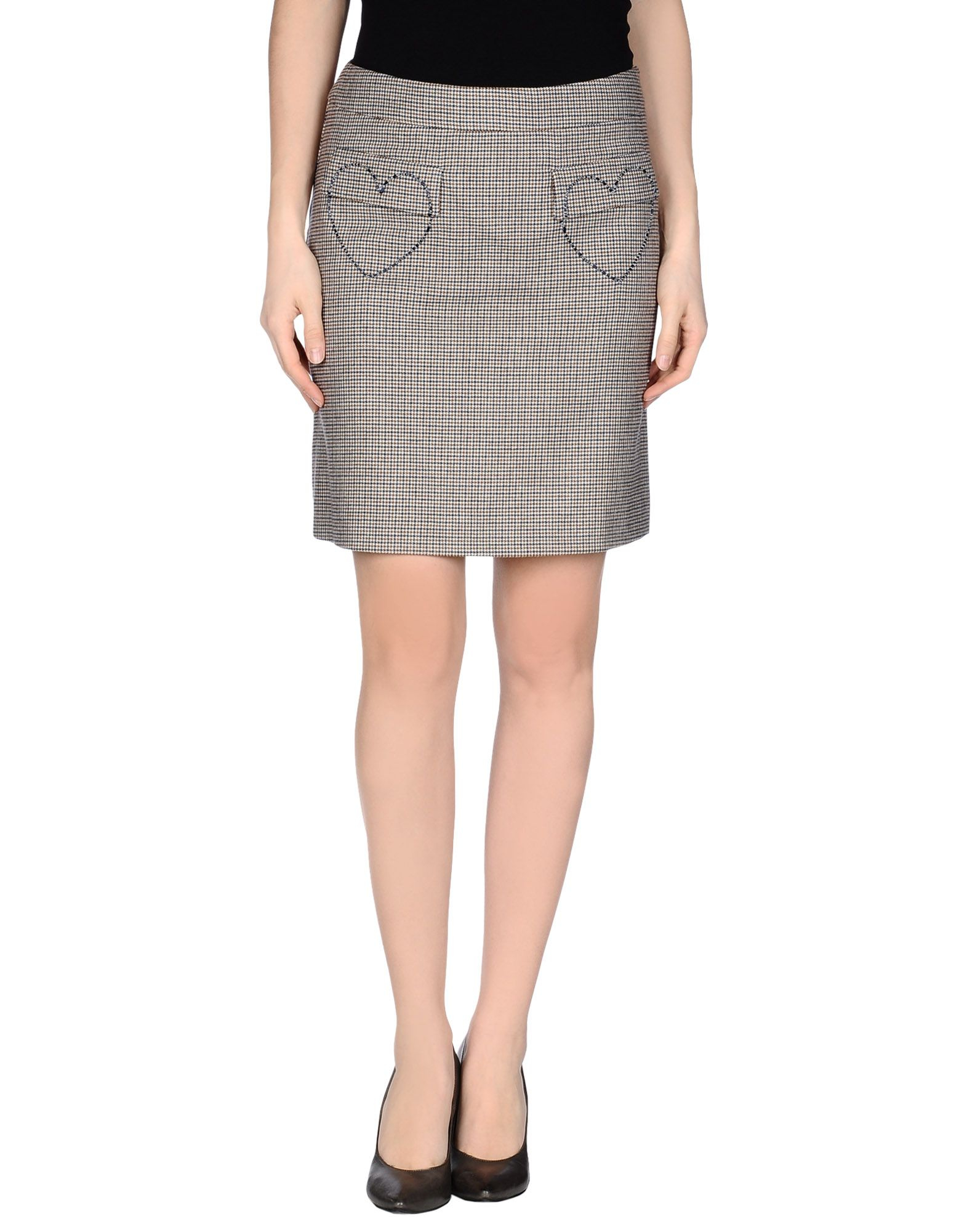 moschino knee length skirt in khaki lyst