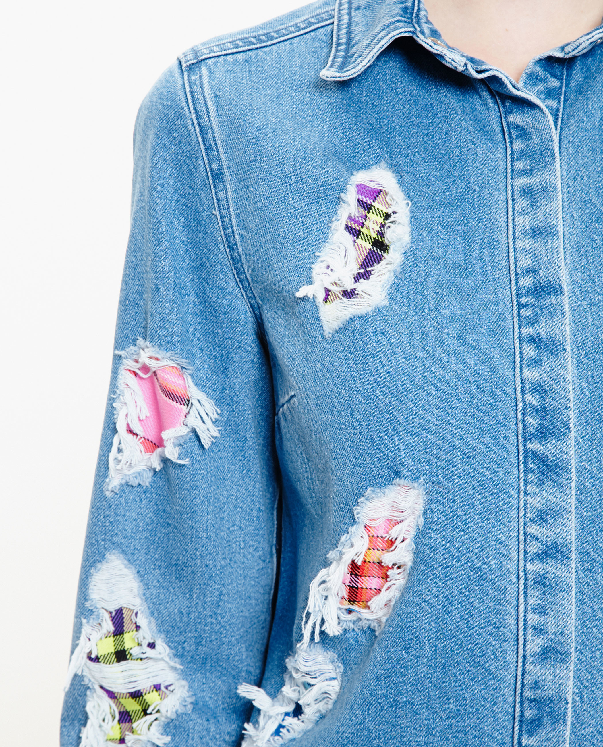 House Of Holland Distressed Denim Shirt In Blue Lyst