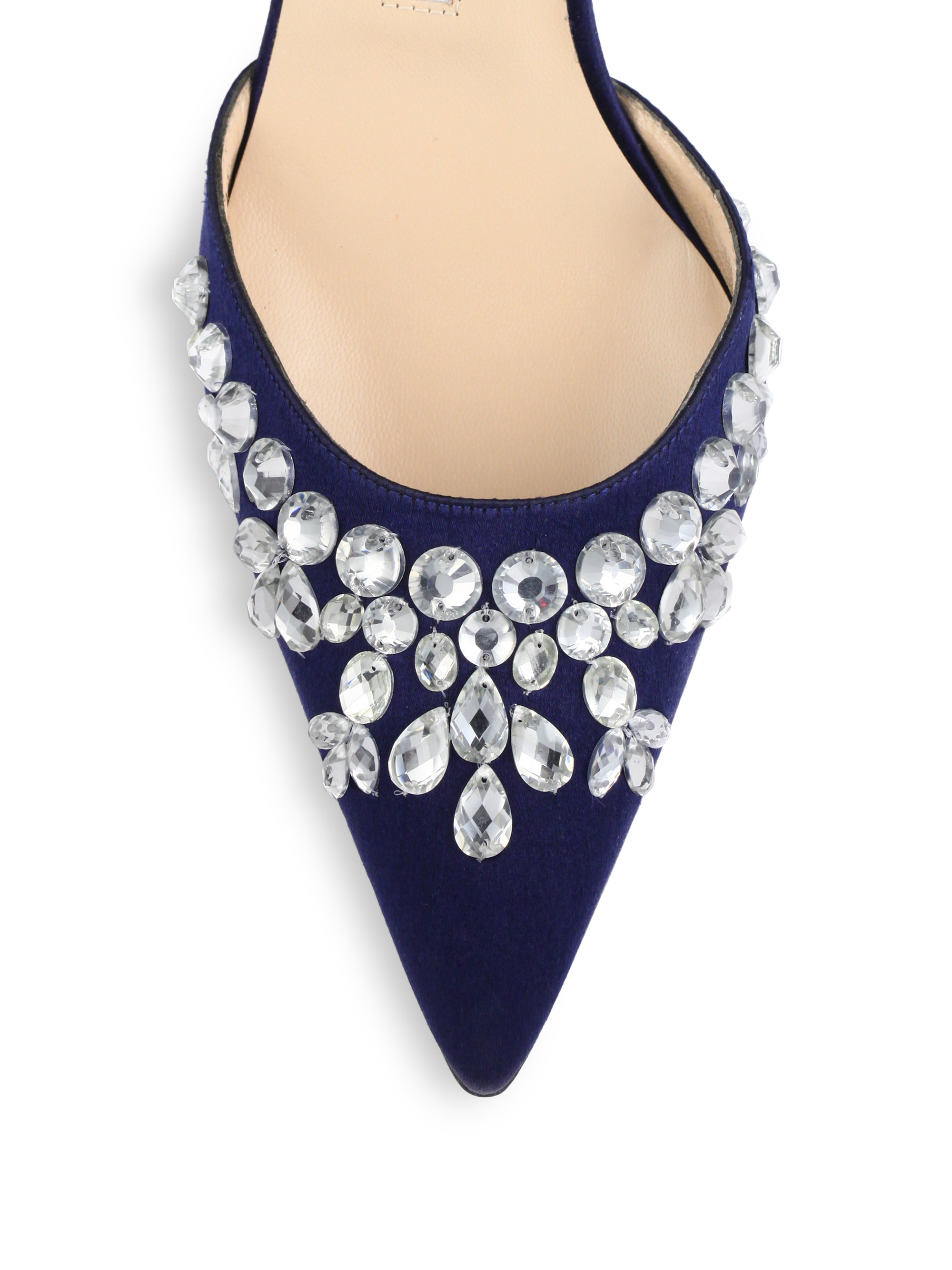 f6da254a797 Lyst - Manolo Blahnik Carolyne Crystal-embellished Satin Slingbacks ...
