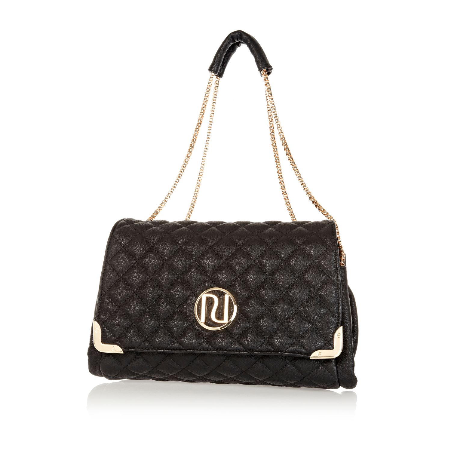 River Island Black Quilted Chain Strap Bag In Black Lyst