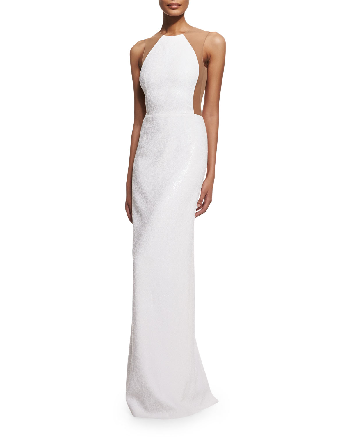 Lyst - Michael Kors Illusion Backless Pebbled Crepe Gown in White