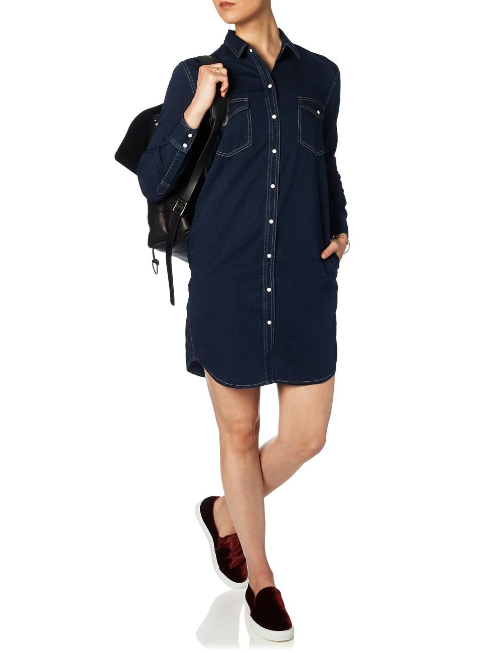 M I H Jeans Indigo Denim Button Shirt Dress In Blue Lyst