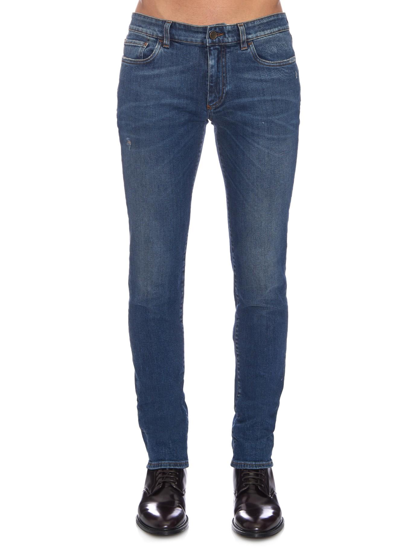 dolce gabbana gold fit skinny jeans in blue for men lyst. Black Bedroom Furniture Sets. Home Design Ideas