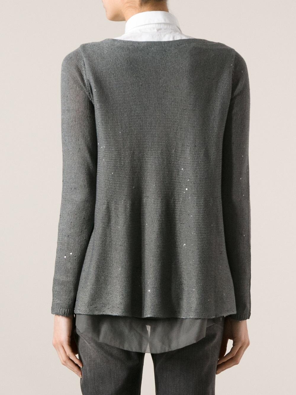 Brunello cucinelli Sheer Knit Sweater in Gray   Lyst