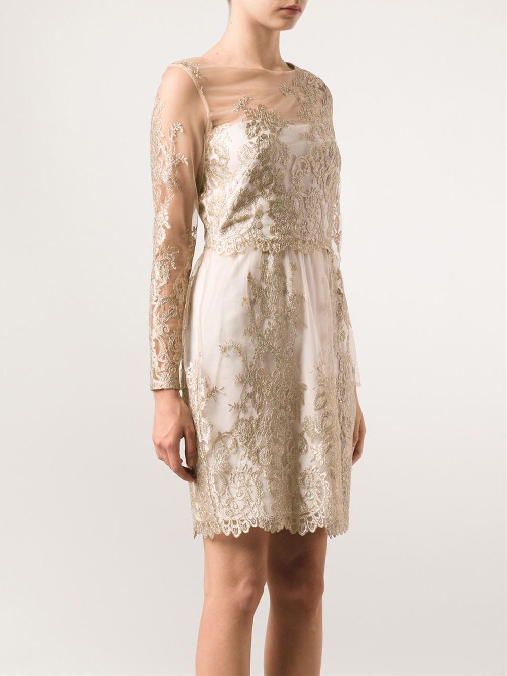 dfa7f6c47a Marchesa notte Metallic Lace Cocktail Dress in White - Lyst
