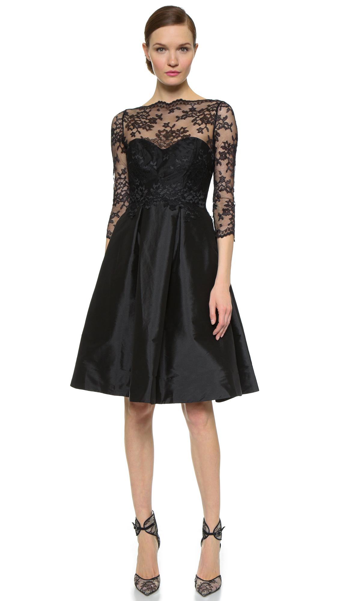 Платье из тафты с кружевом