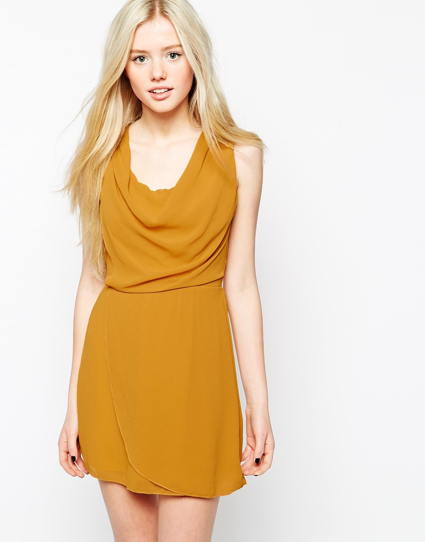 Yellow cowl dress