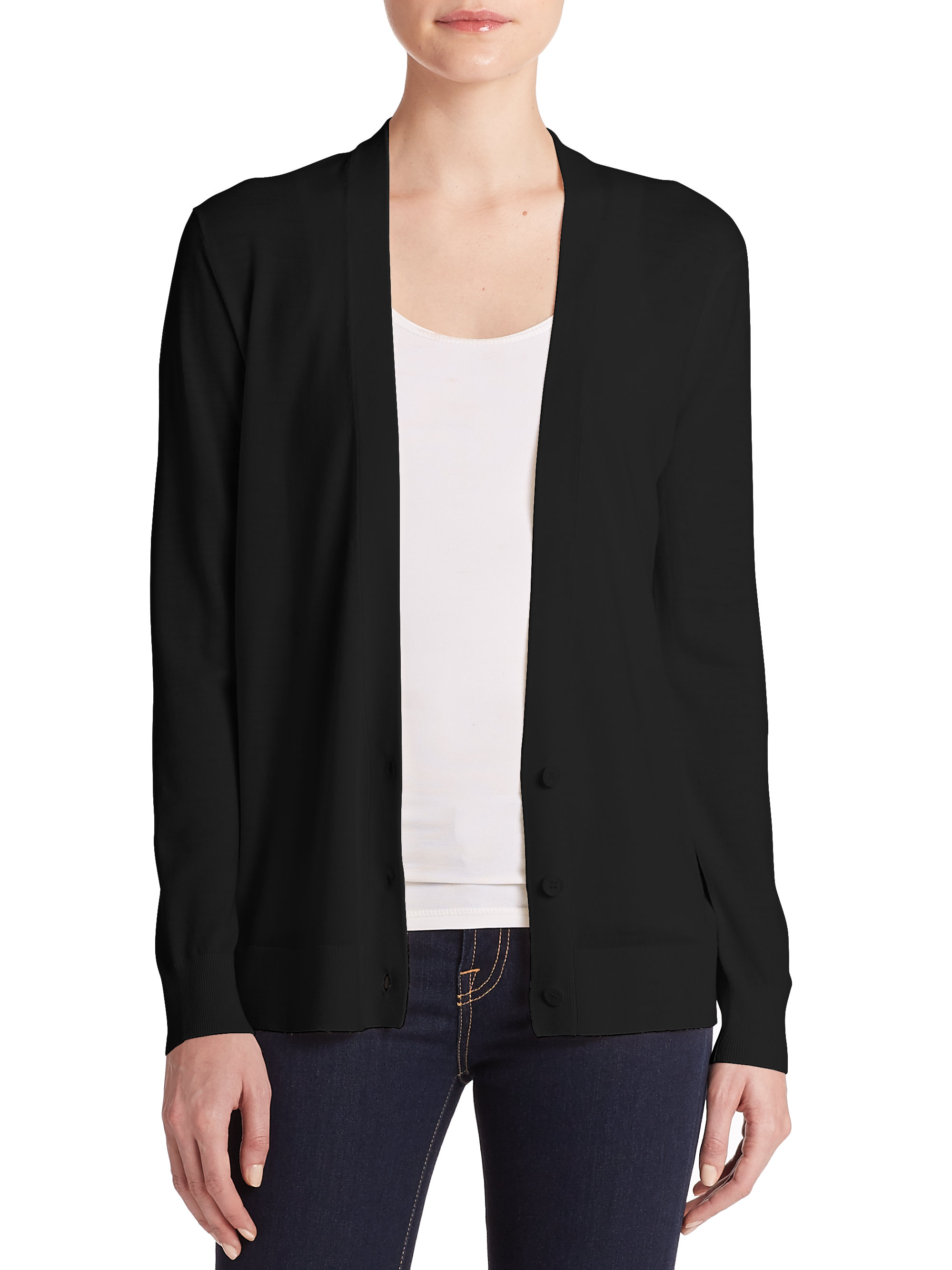 Women'S Black V Neck Cardigan - Cashmere Sweater England