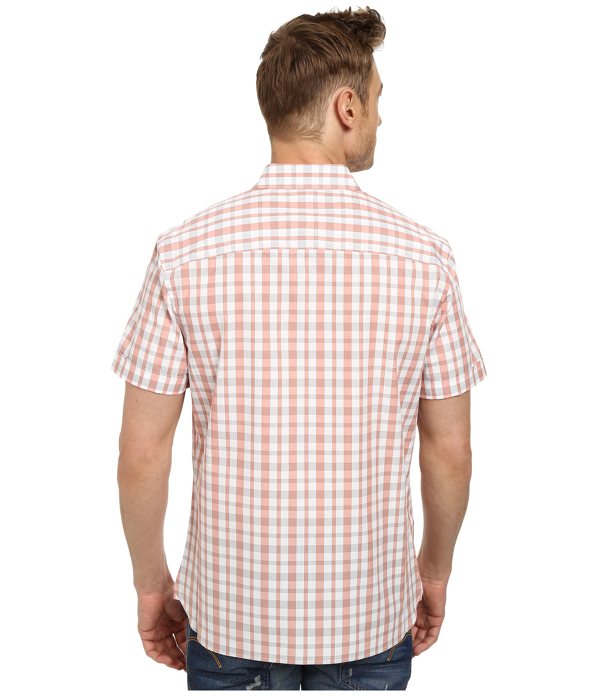 Perry Ellis Short Sleeve Plaid Pattern Shirt In Pink For
