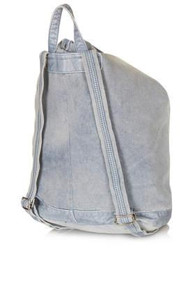 TOPSHOP Zip Front Denim Backpack in Blue