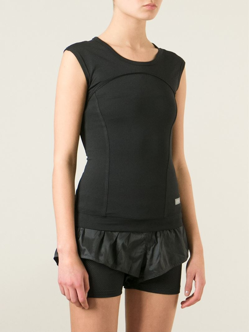 lyst adidas by stella mccartney running tank top in black. Black Bedroom Furniture Sets. Home Design Ideas
