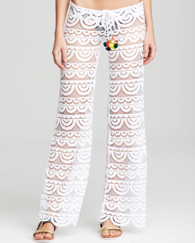 Pilyq Malibu Lace Crochet Pants Swim Cover Up In White Lyst