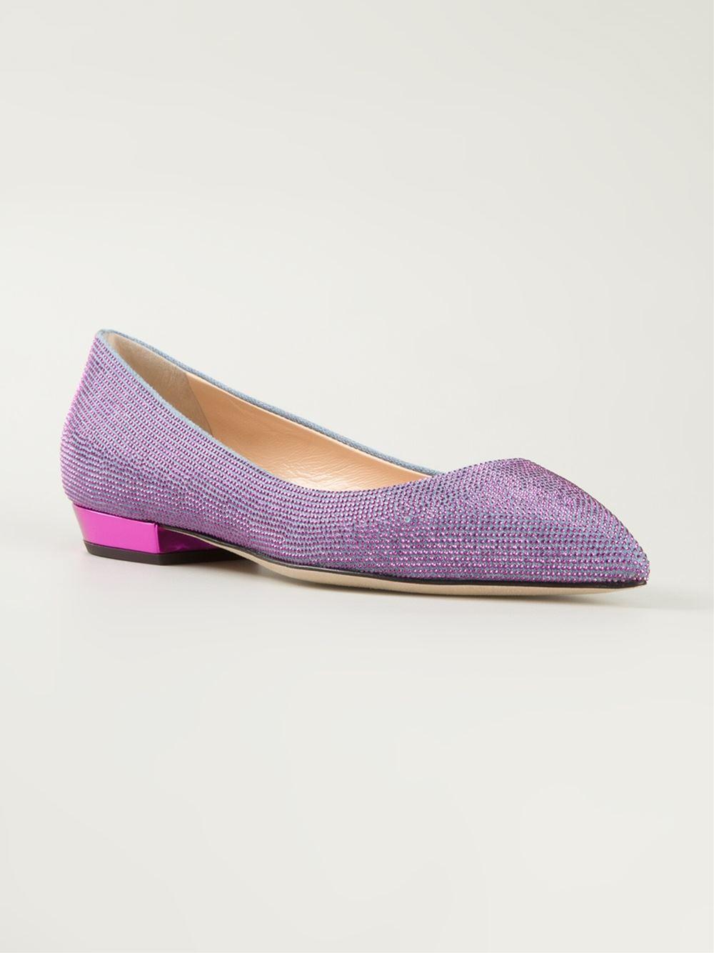 giuseppe zanotti pointed toe glitter ballerinas in pink