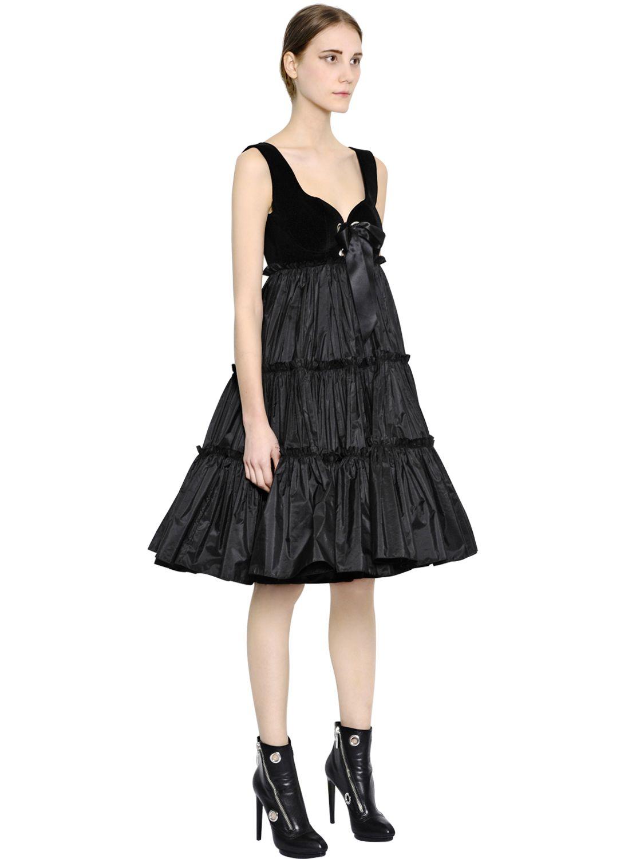 Black silk taffeta dress