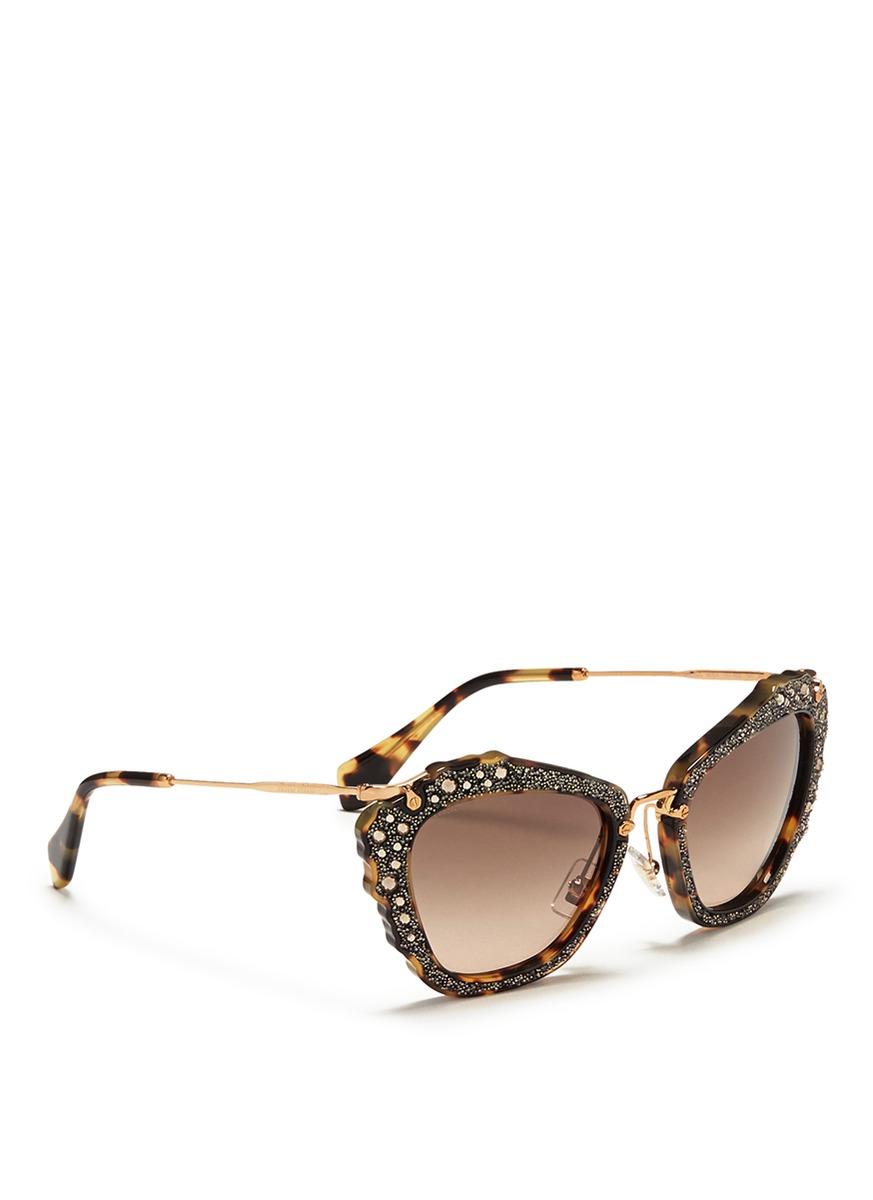 c861c859f8 Miu Miu Sunglasses Cat Eye Glitter