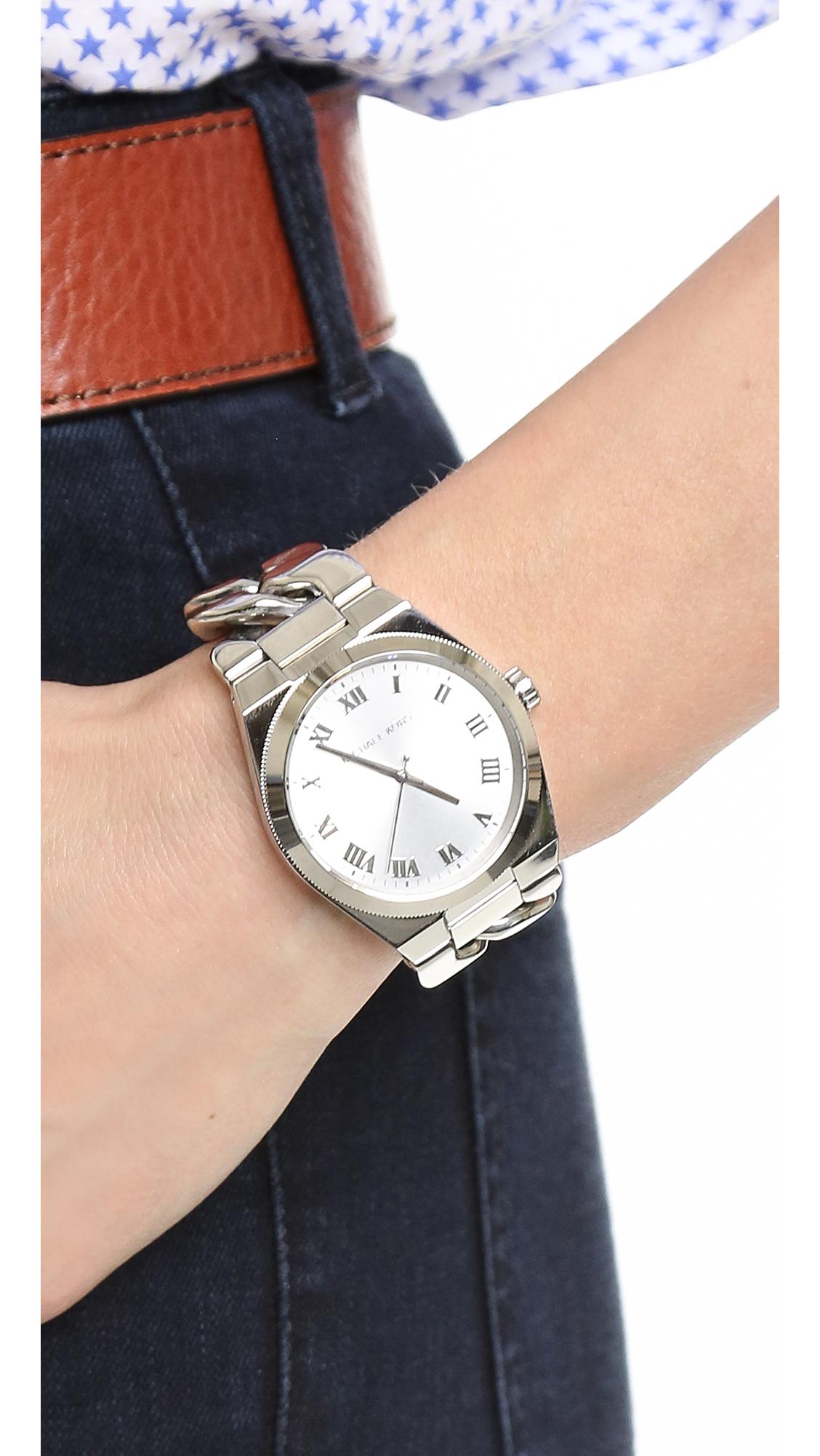 b7db525fba70 Michael Kors Channing Watch - Silver in Metallic - Lyst