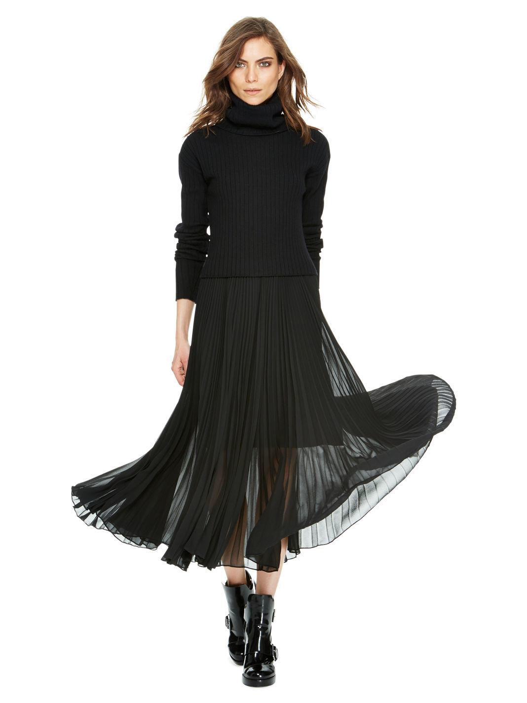 dkny pleated maxi skirt in black lyst