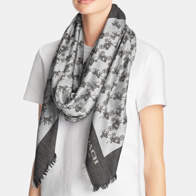b24261d835685 COACH Horse & Carriage Oversized Square Scarf in Gray - Lyst