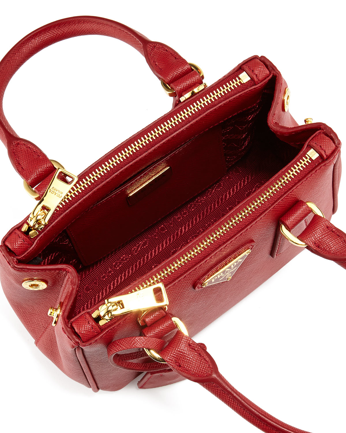 Lyst - Prada Saffiano Extra-mini Executive Leather Bag in Red 48b58c25705bb