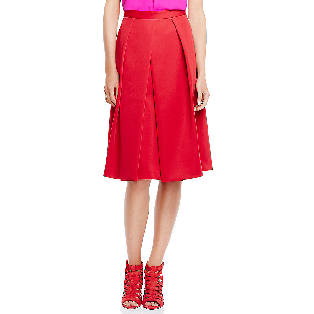 vince camuto pleated scuba midi skirt in lyst