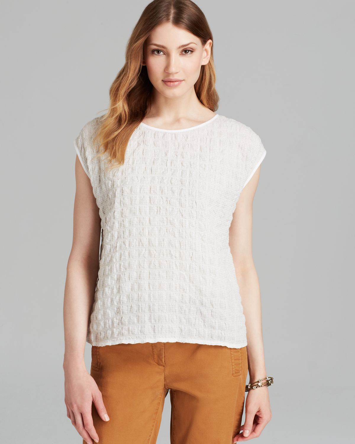 Lyst Eileen Fisher Boat Neck Cap Sleeve Top In White
