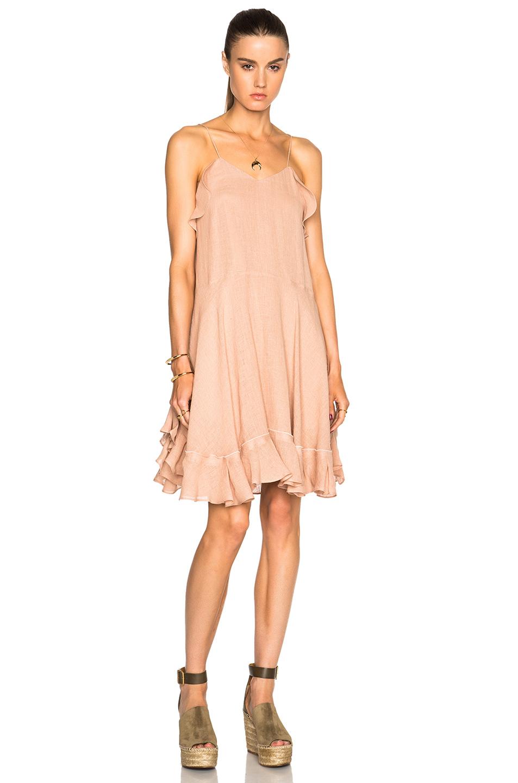 918a0f004d5 Lyst - Chloé Gauzy Linen Ruffle Mini Dress in Natural