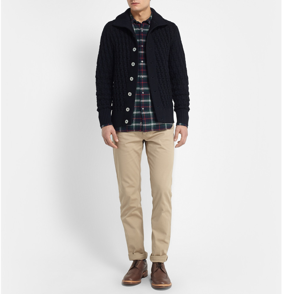 S.N.S Herning Stark Chunky Waffle-Knit Wool Cardigan in Blue for Men