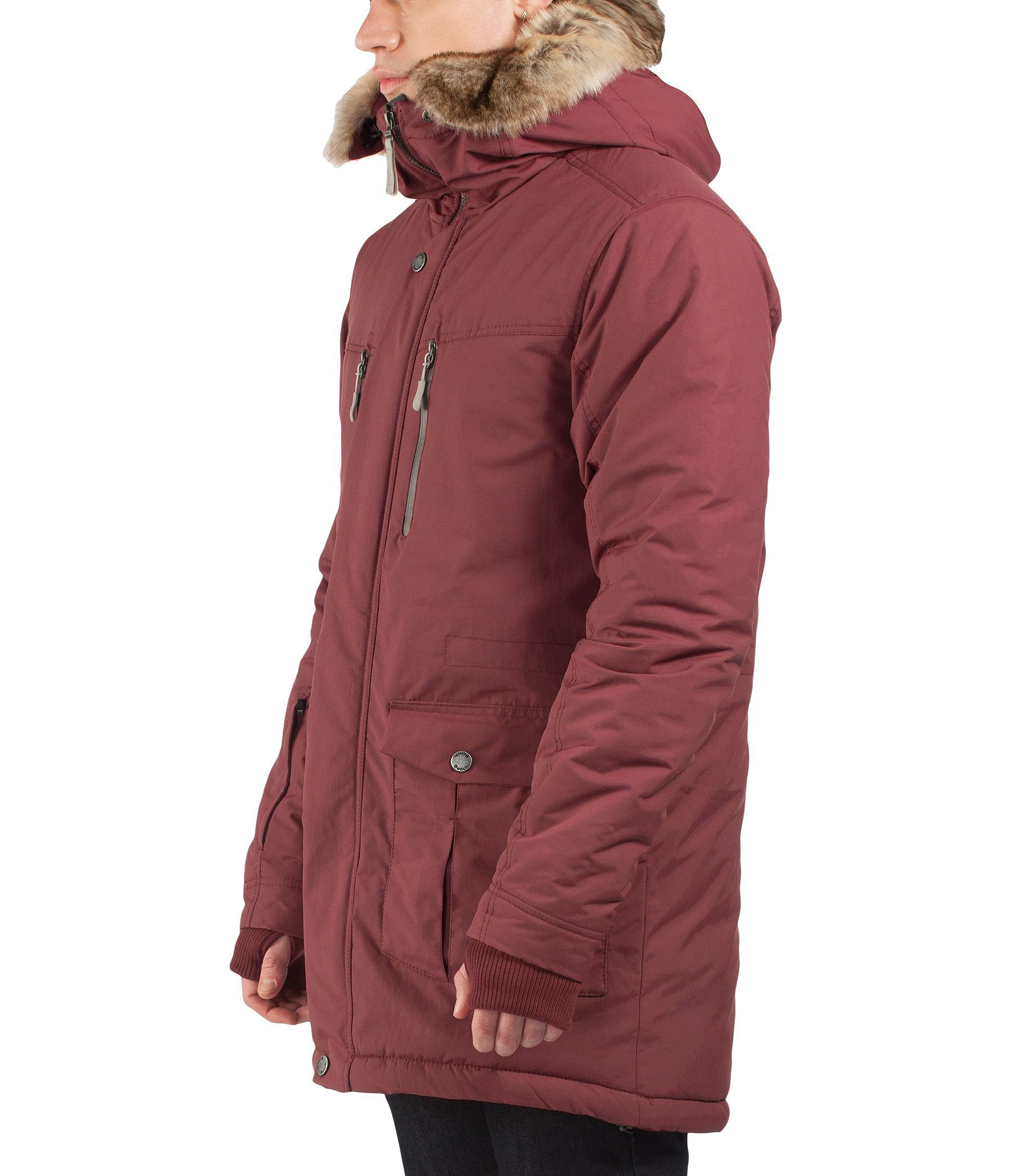 Bench Nomen Long Zip Thru Hooded Parka Coat In Red For Men Deep Red Lyst