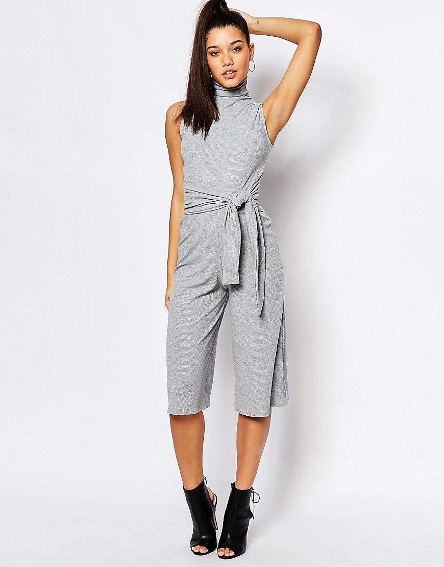 426cd4e32d7a Lyst - Missguided Culotte Tie Front Jumpsuit - Gray in Gray