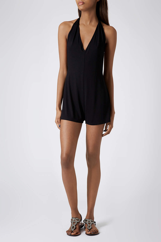 7cb2ed93d790 TOPSHOP Black Jersey Halter Playsuit in Black - Lyst