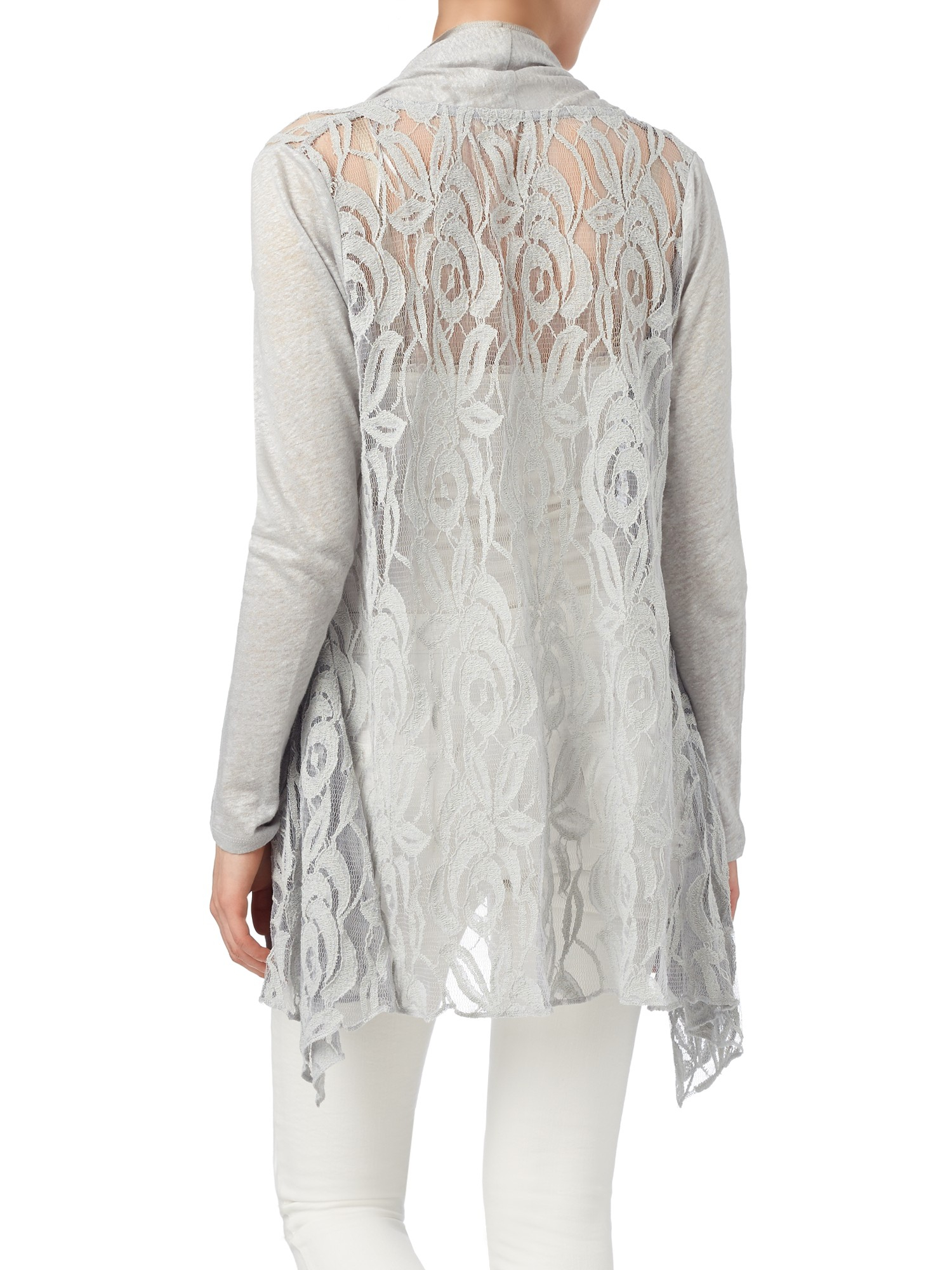 Phase eight Leona Lace Cardigan in Gray | Lyst