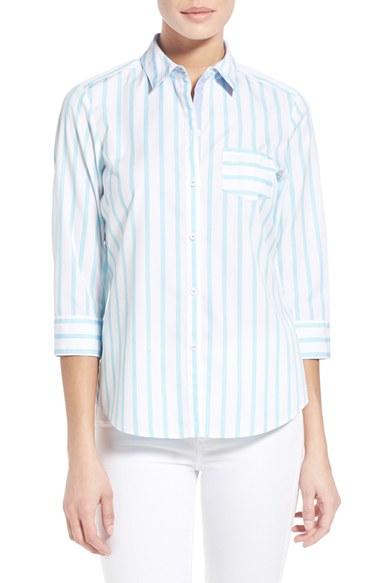 Foxcroft Stripe Non Iron Cotton Shirt In White Lyst