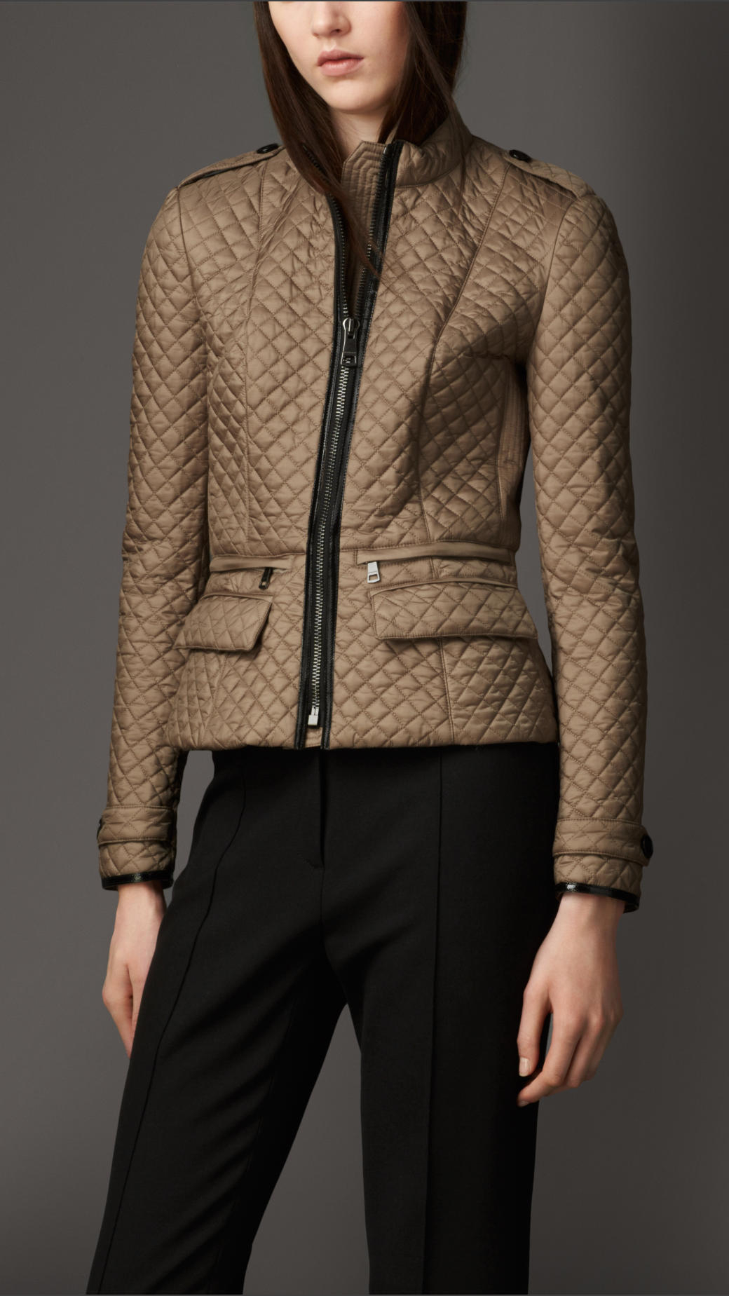 Lyst - Burberry Quilted Peplum Jacket in Brown : burberry quilted check trim coat - Adamdwight.com