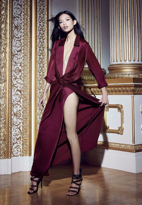 Missguided Peace Love Satin Wrap Thigh Split Maxi Berry
