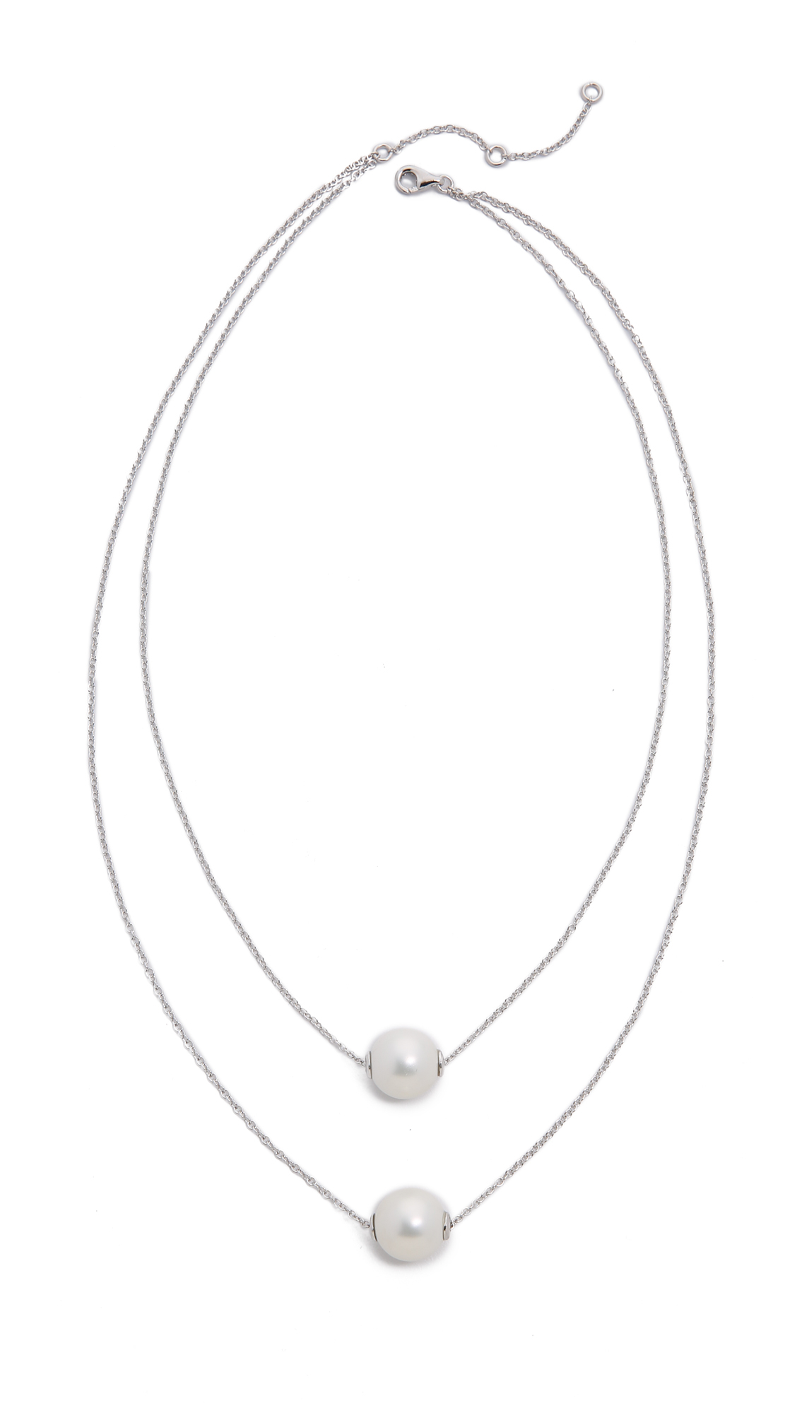 Amber Sceats Imitation Pearl Duo Necklace - Silver/pearl in Metallic