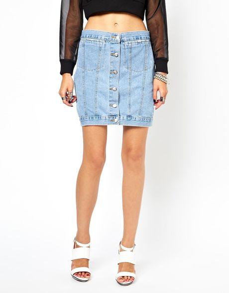cheap monday mini denim skirt in blue lighttrash lyst